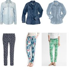 Spring outfit: chambray shirt + printed pants - StyleBakery*Teen - fashion, beauty, style, shopping, stars and more