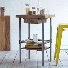 Rustic Industrial Kitchen Prep Counter #westelm $499-$349.99 (use as inspiration for bedside tables: plumbing pipes and fittings with wood top)