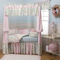 Baby Girl Crib Bedding in Love Birds Fabrics by Carousel Designs.