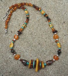 UNISEX Natural Genuine MultiColor Baltic Amber and Arizona turquoise necklace by EurekaSpringsRocks, $150.00