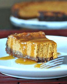 Maple Cream Pumpkin Cheesecake with Buttery Gingersnap Crust - an updated twist combining traditional pumpkin pie with rich cheesecake - a new holiday favorite! @spabettie