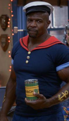 Terry Crews on Brooklyn Nine-Nine in a Popeye costume