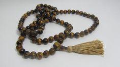 Ready to ship mala necklace - 8mm Tiger eye 108 beads buddhist mala - brown mala…
