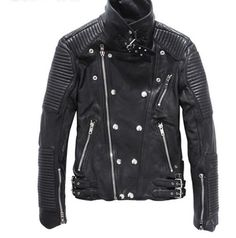 Balmain Men's sheepskin leather motorcycle jacket