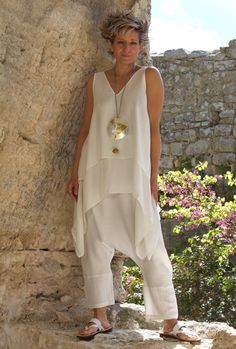 white loose fit layered silk top with linen harem pants
