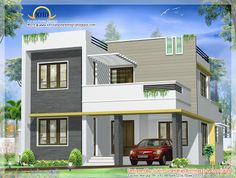 Beautiful Contemporary Villa design - 163 Sq M Sq Ft) - January House Front Wall Design, Simple House Design, House Design Photos, Modern House Design, Contemporary Design, 2 Storey House Design, Bungalow House Design, Model House Plan, Kerala House Design
