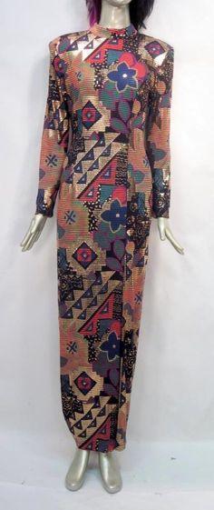 Vintage 80's Janine Metallic Long Sleeve Dress Column Gown * #Janine #Gown #Formal