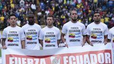 Jugadores de River Plate enviaron mensaje a los damnificados del terremoto. Abril 29, 2016.