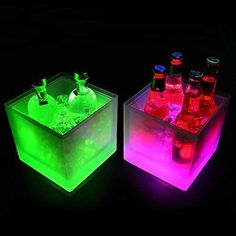 Neon Party Decorations, Deco Restaurant, Large Floral Arrangements, Champagne Bottles, Wine Bottles, Storage Tubs, Ice Bars, Color Changing Led, Party Drinks