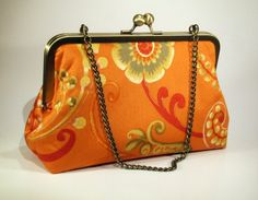 Tangerine Floral Cotton Clutch with Metallic Gold by FABbyCAB, $52.00