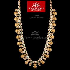 Traditional gold necklaces for women from the house of Kameswari. Shop for antique gold necklace, exquisite diamond necklace and more! Gold Jewellery Design, Gold Jewelry, Gold Necklaces, Diamond Necklace Set, Ruby Necklace, Gold Earrings For Women, Gold Jhumka Earrings, Necklace Online, Necklace Designs