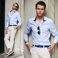 , Clubmaster, Men In Cities Braided Belt, Chinos, Vans Surf Shoes