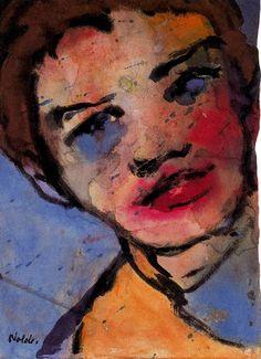 Emil Nolde (1867-1956) Buiten zeegezichten, portretten en religieuze onderwerpen, schildert Nolde honderden aquarellen van bloemen en landschappen. Hij maakte portretten, landschappen, figuurstudies, caféscènes etc. en bediende zich van olieverf, etstechniek en houtsnede. Kenmerkend voor het werk van hem zijn forse, schetsmatige lijnen en felle kleuren. Als graficus maakte hij talrijke houtsneden, litho's en etsen. Emil Nolde, Painting & Drawing, Watercolor Paintings, Watercolour, Ludwig Meidner, Degenerate Art, August Macke, Ernst Ludwig Kirchner, Amedeo Modigliani