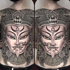 I love Kali front pieces trying to do them different every time. Kali Tattoo, Yantra Tattoo, Kali Yantra, Body Tattoos, Tatoos, Patriotic Tattoos, Back Piece Tattoo, Perspective Sketch, Back Tattoos For Guys