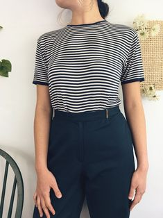 A silk knit t-shirt? Simply too good to be true! Complete with nautical stripes and bold accents on the neckline and end of sleeves. outfit inspo, casual style, vintage blouse, retro tops, everyday fashion, vintage style, retro looks, 80s style, weekend style, fashion trends, retro style, trendy style, 90s fashion, cute clothing, adorable style, vintage style outfit, weekend casual outfits, 1950s inspired outfits