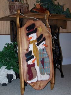 Wooden Sled Snowmen Home Decor, Country Cottage, Winter Holiday Decoration