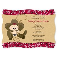 Little Cowboy - Personalized Baby Shower Invitations With Squiggle Shape
