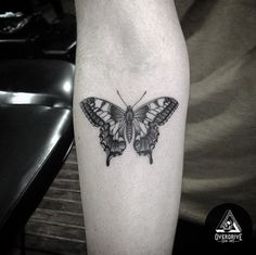 Blackwork Butterfly Tattoo on Forearm by Overdrive Skin Art