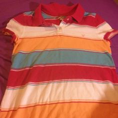 Selling this Multicolored striped short sleeved top in my Poshmark closet! My username is: saigey0103. #shopmycloset #poshmark #fashion #shopping #style #forsale #American Eagle Outfitters #Tops
