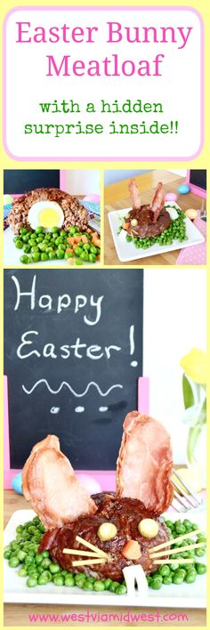 Easter Bunny BBQ Meatloaf! A recipe that's fun to make, tastes delicious and a crowd pleaser for both kids and adults alike! Brushed with BBQ sauce, the meatloaf is juicy and tangy. The surprise in the middle is just icing on the cake!