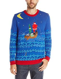 Blizzard Bay Mens Santas Gone Fishin Light up Ugly Christmas Sweater BlueRed XLarge >>> Check out the image by visiting the link. (This is an affiliate link) #ChristmasMensFashion