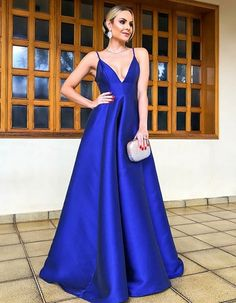 Princess Prom Dress, A-Line Spaghetti Straps Floor Length Royal Blue Satin Prom Party Dress, An engrossing 2020 prom gown is usually a long flowing dress usually worn to a formal affair showing the elegant and ethereal. Royal Blue Prom Dresses, Cheap Prom Dresses, Prom Party Dresses, Party Gowns, Dresses For Teens, Dance Dresses, Bridesmaid Dresses, Long Dresses, Dress Party