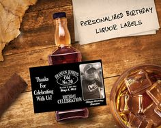 Custom Jack Daniels Mini Bottle Labels Birthday Favors Adult Guys Mens 30th Birthday Celebration Over The Hill Photo Whiskey Gifts EB-1017