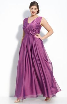 JS Collections Draped Cationic Chiffon Gown At Mirella's Ladies Boutique in cobalt blue size 20 and 22