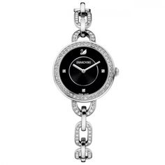 nice Swarovski Aila bracelet watch, Silver just added. Swarovski Watches, Swarovski Jewelry, Tag Heuer, Black Stainless Steel, Stainless Steel Bracelet, Swarovski Outlet, Luxury Watches For Men, Metal Bracelets, Black Crystals