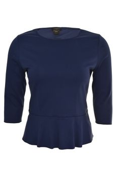 Ann Taylor Ponte Knit Peplum Top XL 3/4 Sleeve Princess Seam Navy Blue NEW