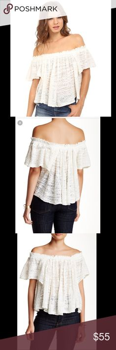 """[Free People] Thrills & Frills Sweater Top NWT This off the shoulder top is the perfect spring wardrobe addition!!! So cute! Even would make a great bathing suit cover up!     Details An off-shoulder design elongates your neck and torso in the see-through Thrills & Frills Sweater. - Off-the-shoulder neck - Short sleeves - Approx. 16"""" length  Free People. Spring. Vacation. Summer. Ivory. White. New with tags Free People Tops"""