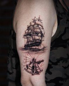 Ship Tattoo Sleeves, Sleeve Tattoos, Fox Tattoo Design, Tattoo Designs, Compass Tattoo, Arm Tattoo, Nautical Tattoo Sleeve, Pirate Ship Tattoos, Small Neck Tattoos