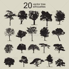 20 Vector Tree Silhouettes Set  #GraphicRiver         This is a set of tree in silhouette vector.   All items can be isolated because they are not merged.   This set of 20 black silhouette can be used for any design works that are related to nature, gardening, agricultural, plant, forest, jungle, greenery, garden, and landscape.   This file is saved in EPS10 , thus editing is very easy.     Created: 28September12 GraphicsFilesIncluded: VectorEPS #AIIllustrator Layered: No