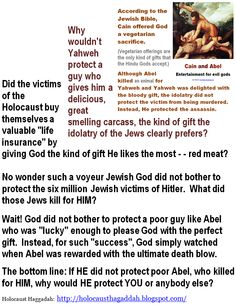 Cain and Abel:  If the horrific, pro-slavery, pedophilia and genocide Yahweh did not protect poor Abel, who killed for HIM, why would HE protect YOU or anybody else?   Click image!