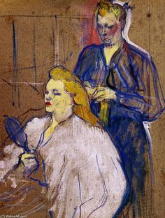 The Haido - Henri de Toulouse-Lautrec, Artist often mixed oils with good amount of turpentine, that gave an effect of pastels when the painting dried. This work has an unfinished, sketchy look with canvas showing through. Henri De Toulouse Lautrec, Art Nouveau, Renoir, Giovanni Boldini, Klimt, William Morris, French Artists, Famous Artists, Monet