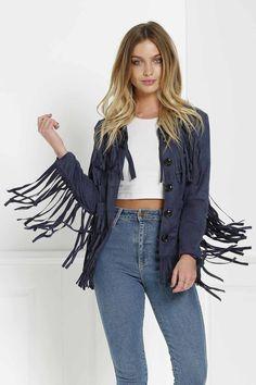 Turn Down Collar Long Sleeve Tassels Spliced Suede Jacket Blue Jean Dress, Fringe Fashion, Light Blue Dresses, Pinterest Fashion, Suede Jacket, Leather Jacket, Fashion Sale, Women's Fashion, Fall Winter Outfits
