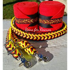 """""""Flame"""" Riding Set with Polos & Matching Adjustable Reins, Black, Red, Orange…"""