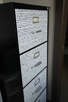 Fast Forward To Colour: Cabinet Makeover Val: Try handwriting bits of interest on the front either bill related or entirely different like poetry, To do lists. Metal Desk Makeover, Office Makeover, Furniture Makeover, Diy Furniture, Refurbished Furniture, Office Furniture, Diy Office Desk, Diy Desk, Office Decor