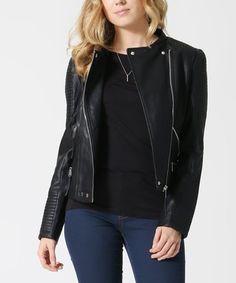 Look at this #zulilyfind! Black Faux-Leather Moto Jacket #zulilyfinds