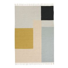 Buy Kelim Rug from ferm LIVING. Patterned with graphic forms in a restrained colour palette, this kelim rug has multiple uses. Hang from the wall as a d. Scandinavian Design Centre, Scandinavian Living, Square Rugs, Geometric Rug, Large Rugs, Deco Design, Weaving Techniques, Shop Interior Design, Dibujo