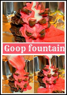 Festive fountain made of pine cones, water and cornstarch! Very cool Idea.