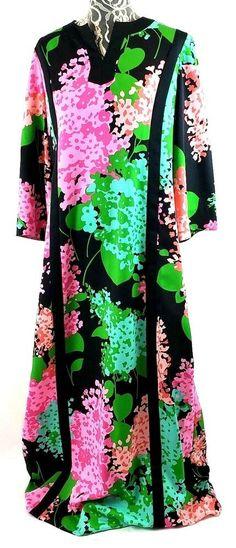 616bc676bb1 Vintage 70s Tori Richard Caftan 16 Maxi Dress Bell Sleeves Floral Aloha  Luau  ToriRichard  Caftan