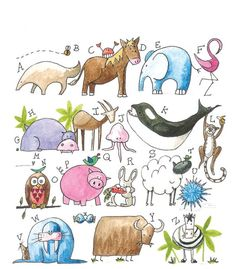designbirdie's ABC  Easy to draw animals w basic shapes.
