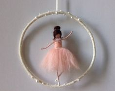 needle felted waldorf ballerina mobile. Made of merino wool.