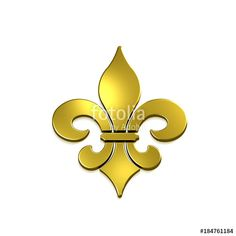 """Fleur-de-lis Isolated. Golden color. 3D Rendering Illustration"" Stock photo and royalty-free images on Fotolia.com - Pic 184761184"