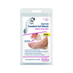 "Pedi-GEL Comfort Gel Sheets 2"" x 3.5"" (2 Pack) -   Sheet size: 2"" x 3.5"". Our unique new Pedi-GEL material is self-sticking, washable, reusable, and safe for sensitive skin. These adhere directly to skin or to the insides of shoes - whichever is preferred - to provide extra cushioning, prevent calluses, and reduce friction. Extra long-lasting Polyurethane Gel."