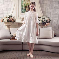 31c80cd3e7 Spring Summer Womens Pajamas Set Pure Color Female Sweet Princess Palace  Vintage Retro Pajamas Suit 100 Cotton Home Clothing