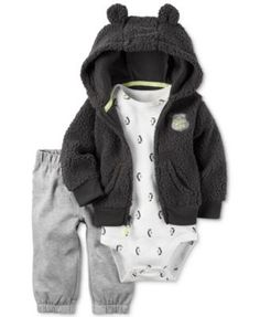 Carter's 3-Pc. Faux-Fur Hoodie, Bodysuit & Pants Set, Baby Boys (0-24 months)