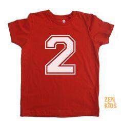Kids T Shirt in Red  2nd Birthday Shirt Secod Birthday by ZenKids, $16.00