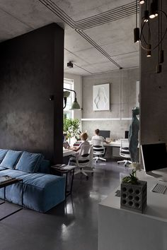 Sergey Makhno Architects Office on Behance Industrial Office Design, Office Interior Design, Dark Interiors, Office Interiors, Grey Interior Doors, Modern Home Offices, Loft Office, Office Meeting, Corporate Office Design